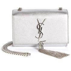 e531d5828c Saint Laurent Monogram Small Metallic Leather Tassel Crossbody Bag ($1,990)  ❤ liked on Polyvore