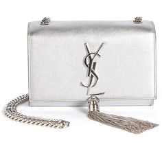 Saint Laurent Monogram Small Metallic Leather Tassel Crossbody Bag ($1,990) ❤ liked on Polyvore featuring bags, handbags, shoulder bags, apparel & accessories, silver, monogram purse, chain crossbody purse, white handbags, metallic handbags and chain shoulder bag