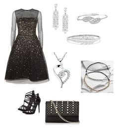 """""""Silver and Black Prom"""" by molly-bell-home on Polyvore featuring Oscar de la Renta, ALDO, Express, Adriana Orsini, Stephen Webster and Cost Plus World Market"""