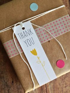 Thank you tag - gift tag - tulip flower tag- packaging supplies - bridal shower favor tags. via Etsy.
