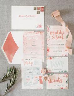 watercolor floral wedding suite   maddison claire