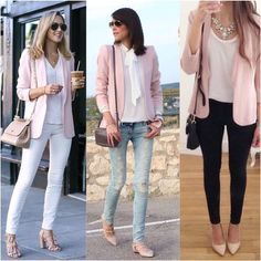 a pink blazer to the green rock? Classy Work Outfits, Business Casual Outfits, Chic Outfits, Pretty Outfits, Fashion Outfits, Fall Outfits, Pink Blazer Outfits, Blazer Outfits For Women, Rosa Blazer