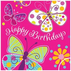Butterfly Sparkle Happy Birthday Lunch Napkins 16ct
