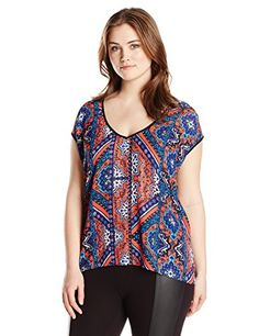 Single Dress Womens Plus Size Lena Sleeveless Top BlueMulti 1X *** To view further for this item, visit the image link.