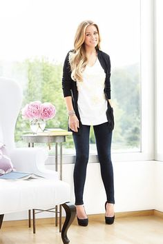 LC Lauren Conrad For Kohl's Fall 2010 Lookbook. Black cardigan, white V-neck tee, and denim leggings ($27.99). Would you wear this look?