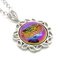 Pearlz Ocean Sterling Silver Rainbow Window Druzy Round Pendant