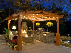 JACKPOT!! Pergola, grill, fire pit, kitchen, bar, string lights, seating area!!!!