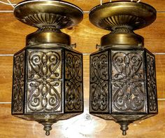 Vintage Pair of Flush Mount Lighting/ Bronze with Scrollwork Design on Glass