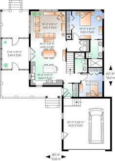 Lake Front Plan: 1,146 Square Feet, 2 Bedrooms, 2 Bathrooms - 034-01044