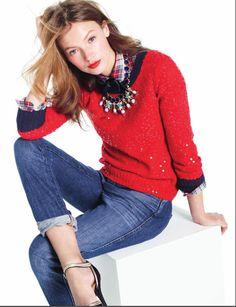 sequin sweater + plaid shirt + satin bow tie + jeans + pumps    #jcrew