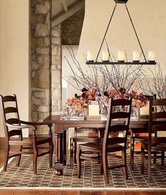 Rustic Dining Room Design Floral Vase Classic Dining Room Chandeliers In Wooden Furniture And Stone Wall Decoration For Interior Inspiration Ideas Rustic Bathroom Lighting, Rustic Light Fixtures, Dining Room Light Fixtures, Dining Room Lighting, Rustic Lighting, Dining Room Table, Lighting Ideas, Dining Rooms, Bedroom Lighting