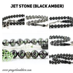 Jet Stone (black amber) Prayer Beads at www.prayerbeadstore.com #tasbih #prayerbeads #tesbih