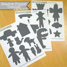 Shadow Puppet Printable Play Sets designed by Jen Goode #freeprintable