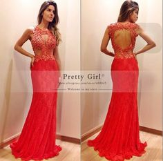 2015 Popular Red Long Lace Mermaid Evening Dresses vestido longo Appliques Beading Backless Formal Prom Party Dress Customized