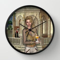 Caribbean Princess Tropical Paradise Portrait Wall Clock by apgme - $30.00