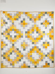 Sunshine Medallion quilt pattern, yellow, white and gray scrappy, by Wise Craft Handmade at Etsy