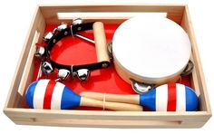 STRIKE UP THE BAND! This assortment of musical instruments is a great way of introducing children to music. Encourages rhythm and social interaction • Provides lively entertainment for all ages • Fun for jam sessions and group play • Makes a creative, reasonably-priced gift. 3 Years and up. Tambourine Jingle bells Maracas triangle