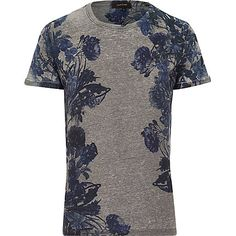 Grey floral print t-shirt £20.00. Better if it was a n-neck.