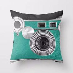 Teal Camera Throw Pillow, Accent Cushion Cover for Unique, Artsy Decor | $$15.93 | Best SALES on Unique Wall Art and Throw Pillows