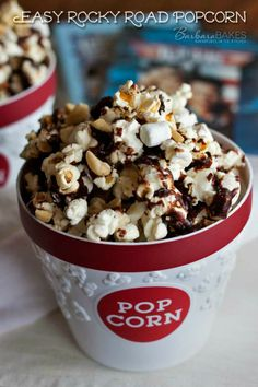 Easy Rocky Road Popcorn Recipe @Barbara Schieving {Barbara Bakes}.com #snacks