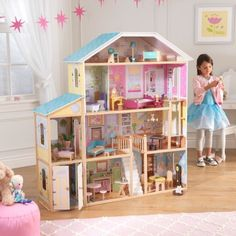 The Kidkraft Majestic Mansion is over four feet wide and four-and-a-half feet tall, giving young girls tons of space for taking care of their favorite dolls. This adorable dollhouse is full of fun, interactive features and would make a perfect gift for any occasion.