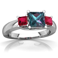 Lab Alexandrite Three Stone Trellis 14K White Gold ring R4015 - front view
