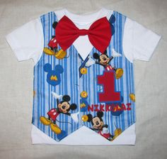 Baby Boy Blue Mickey Mouse Birthday Shirt or Onesie Tuxedo Style - Perfect for 1st birthday boy outfit with number & name applique. $32.00, via Etsy.