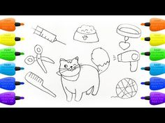 How to Draw Set for Cat : Hairdryer, Animal Feed, Comb and Scissors - Vidinterest