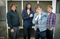 Ian Matthews, Sergio Pizzorno, Tom Meighan and Christopher Edwards pose outside Studio 104 at Album de la Semaine Show at Studio 104 on August 31, 2011 in Paris, France.