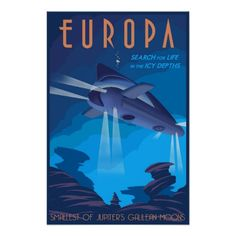 Search for Life on Jupiter's moon Europa Print