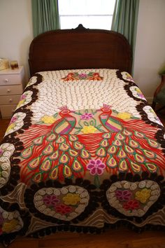 Rare Antique Chenille Bedspread with Peacock Design. So colorful, so lovely. $310