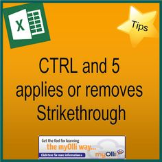 Microsoft Office: Excel Tip- Ctrl & 5 applies or removes Strikethrough. Source: www.theittrainingsurgery.com