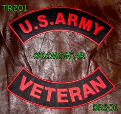 012fb1a2643 U.S. Army Veteran Embroidered Patches Red   Black Military Patch Set for  Jackets Motorcycle Patches
