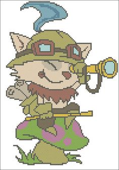 Teemo League of legend  Cross Stitch Embroidery by ElfinTales