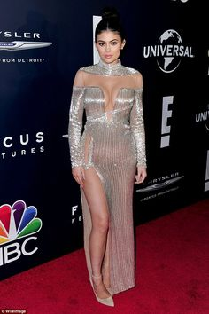Kylie Jenner forgoes underwear in metallic sheer dress as she joins big sister Kendall at Golden Globes afterparty | Daily Mail Online