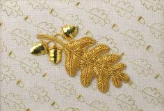 Goldwork Oak Leaf and Acorns