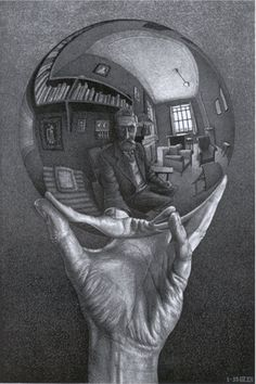 Escher Hand with Reflecting Sphere 1935 - My dad had a print of this hanging in the hall way.