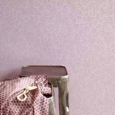 Wallpaper - rose colored leaves with silver - for Kura bed perhaps?