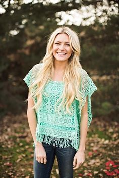 Spring Crochet Fringe Top - 2 Colors {Jane Deals}