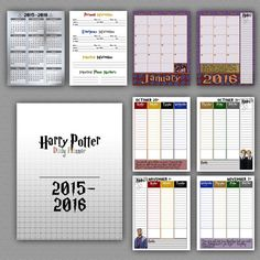 This 2015-2016 Daily planner is inspired by, of course, Harry Potter. by BBannabelle on Etsy This Planner includes  3X Cover Pages (front and back. front cover includes
