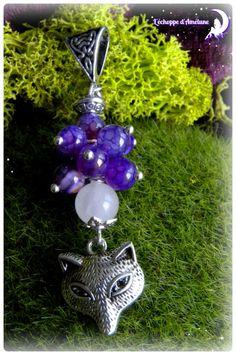 *Songe féérique* Pendentif argenté breloque renard, perles de quartz rose et agate veine de dragon violette