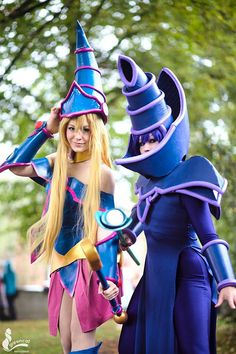 Colorful Yu-Gi-Oh Dark Magician And Dark Magician Girl Cosplay