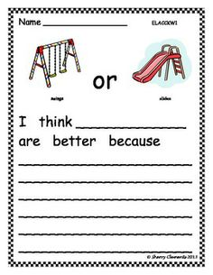 Opinion Writing - Favorite playground activity. Free download.