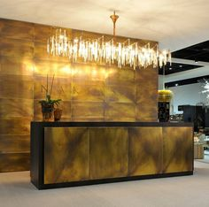 revêtement mur et bar en panneaux acier corten Regoalare, DeCastelli