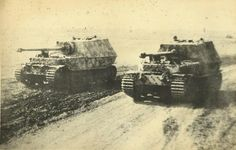 Original photo of two Ferdinand tank destroyers at Kursk, 1943//.,MAR16