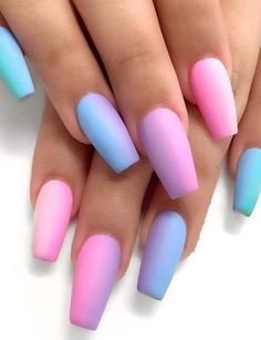 58 Simple Short Acrylic Square Nails For Summer 2018 – - NailiDeasTrends : Simple Pastel Ombre Nail Polish Designs & Arts in 2019 Ombre Nail Polish, Gel Nails, Coffin Nails, Ombre Nail Art, Nail Deaigns, Nail Gradient, Summer Nail Polish, Nail Summer, Nail Polish Art