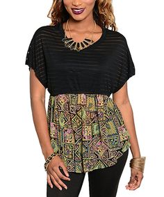 Look at this Black & Yellow Sheer-Stripe Top on #zulily today!
