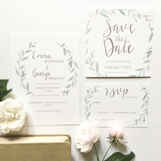 Hand painted, watercolour invitation suite inspired by Jane Austen's 'Emma'.   #watercolourinvitation #springweddinginvitation #springwedding #pastelwedding #weddingflorals #floralinvitations #watercolourwreath #summerwedding #watercolourweddingstationery #weddingstationery #weddinginvitation #savethedate