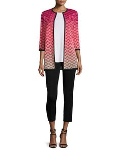 3/4-Sleeve+Printed+Ombre+Jacket,+Sleeveless+Long+Tank+Top+&+Slim+Ankle+Pants,+Women\'s+by+Misook+at+Neiman+Marcus.