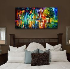 Abstract landscape print painting canvas on canvas no frame wall pictures for living room city night in the rain oil paintings